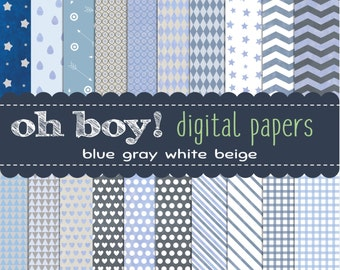 20 baby boy digital papers. Blue. Gray. Beige. White. Hearts, gingham, chevron, stars, circles, and more.