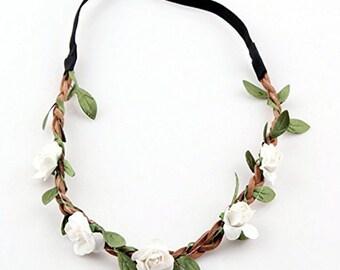 Flower headdress hippy headband hairband festival boho hair accessory uk off white fcwhi