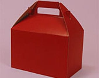 12 Red Colored Gable Gift Boxes - Large Size (8 x 4 7\8 x 5 1\4)