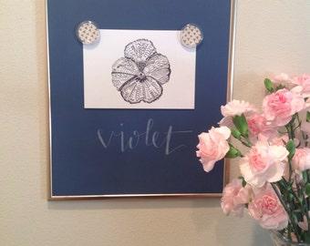 Custom Violet Floral Art