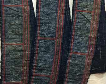Vintage tribal Hmong batik hand dyed indigo cotton running fabric from the north of Vietnam