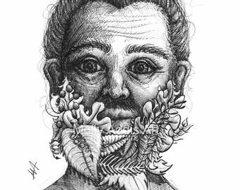 A5 'Floral Beard' Illustrative Print