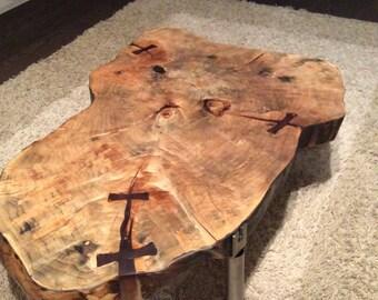 Cofee wood slab table