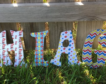 """Dr. Seuss Themed 8"""" wooden letters"""