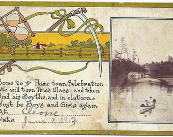 Old Vintage Postcard, Invitation, 1913