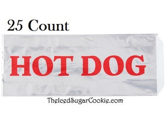 Flawed Hot Dog Foil Wrappers With Markings- 25 Count-Circus, Fair, Carnival, Concession Stand Supplies by The Iced Sugar Cookie