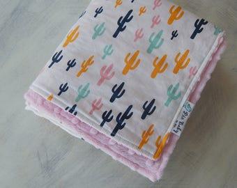 Baby girl Blanket -Cactus baby blanket - Modern baby Blanket -Baby shower gift