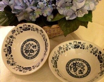 2 vintage blue onion cereal bowls- japan