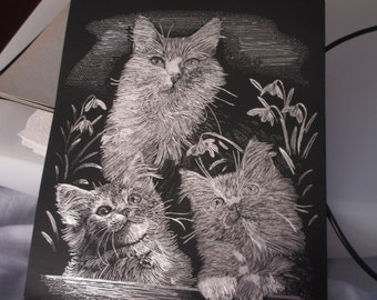 Cat Family Silver