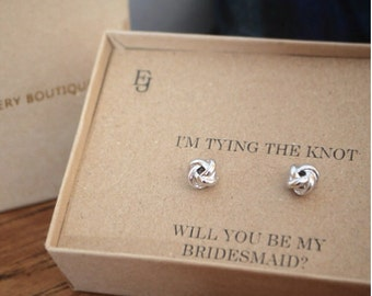 """Platinum Plated """"Will You Be My Bridesmaid"""" Studs"""