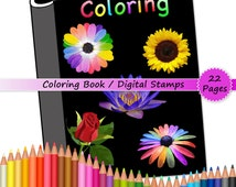 Adult Printable Coloring Book / Flower Art Therapy, Digital Stamps, Coloring Sheets, Digi Stamps, Instant Download Adult Coloring Pages