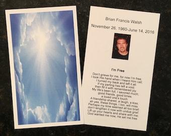 Customized Funeral Memorial Prayer Card