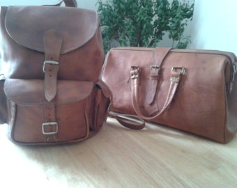 Quality Handcrafted Morrocan Leather Rucksack and Gladstone Bag Travel Set