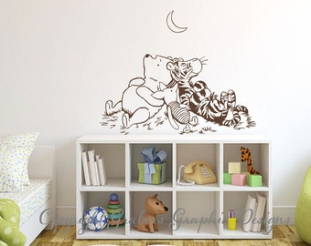 Winnie The Pooh inspired Classic Pooh Tigger Piglet moon graphics vinyl decal