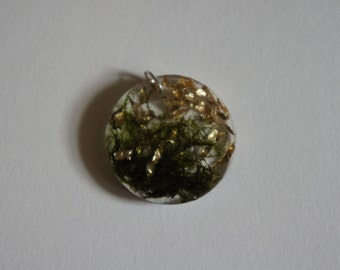 Moss and Gold Leaf Resin Pendant