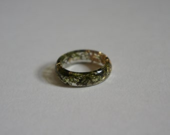 Real Moss and Gold Leaf Resin Ring
