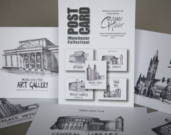 A6 Postcard Collection - Manchester UK - selection of 5 different landmarks of the city