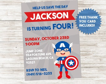 Captain America Invite Invitation Superhero Kids Birthday 5x7 Digital Personalized