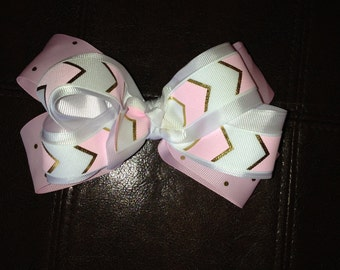 Boutique double stacked bow pink white and gold