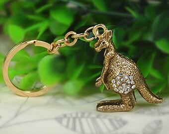 "Jewel of bag ""Kangaroo"" Elk rhinestone keychain"