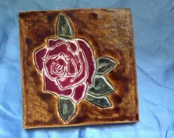 """Handmade 5""""x5"""" Rose Tile"""