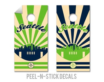 Seattle Seahawks Cornhole Board Decals