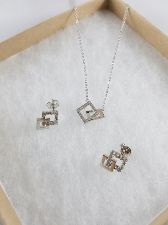 OR(White Gold) Plated Necklace and Earrings Set/OR/CZ/Nickel Free