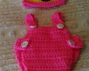 hand-crocheted infant one piece romper