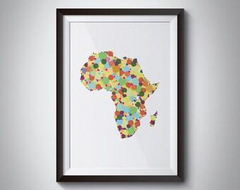 Africa Map Art Print | Digital Instant Download | Printable Art