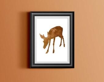 Deer watercolor printable wall art poster, Deer prints, Deer digital print, Deer home decor, Deer instant download wall art