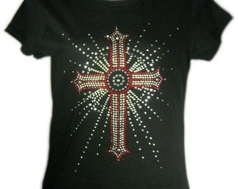 Bling Cross Rhinestone Fitted Tee