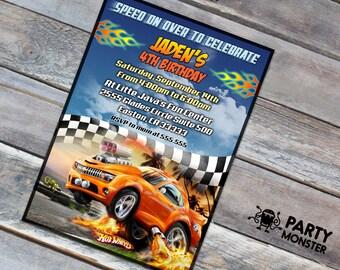 Hot Wheels invitation, Hot Wheels Birthday, Hot Wheels Party, 5x7 invite, DIY, Hot Wheels, Race Invitation, Race car