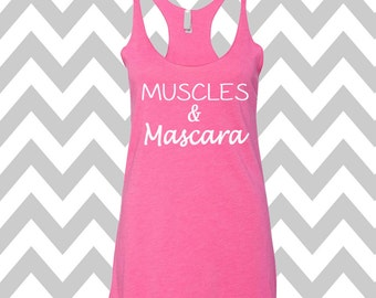 Muscles and Mascara Tank Top Running Tee Exercise Tank Running Tank Top Cute Womens Gym Tank Top Workout Shirt