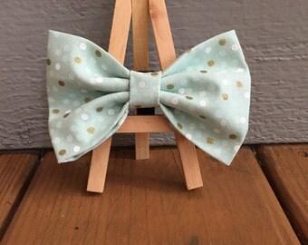 light green polka dot bow tie, dog bow tie