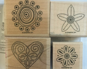Stampin' Up Retired 2006 Polka Dot Punches set of4 Wood Mount Rubber stamps