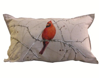 CARDINAL ON BRANCHES Pillow Cover