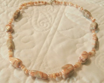 """18"""" Redline Marble and Ivory with Silver Necklace."""