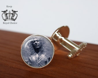 Han Solo Frozen In Carbonite pair of cufflinks, Star Wars cuff links, Tie clip, Personalized Men Wedding Jewelry, gift for dad
