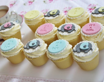 12 baby reveal fondant cupcake toppers. baby shower/gift. baby elephant pink,blue and yellow