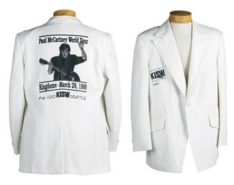 The Beatles Rares Paul McCartney blouson Smoking Blanc Promo veste de concert Seatle USA 1990 (Seulement 5 furent produit par la Radio KISW)