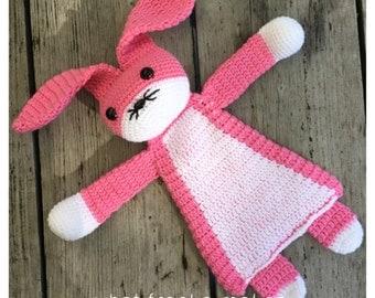 Crochet Ragdoll Bunny, pink, gehaakte lappenpop, konijn gehaakt, snuggle
