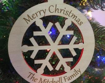 Snowflake Ornament Family Ornament Wood Christmas Ornament Christmas Tree Ornament Wood Ornament Christmas Tree Decor Family Christmas Gift