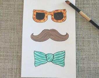 Original Art Watercolor Painting - Mustache Man - Pop Art - Bowtie - Mustache - Flashy Glasses - Teal - Turquoise - Stache - Photo Booth Man