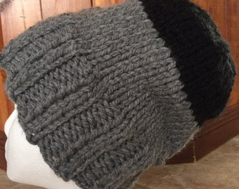 Handmade black rustic wool toque.
