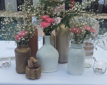 Wine bottle & Mason jar Wedding Decor