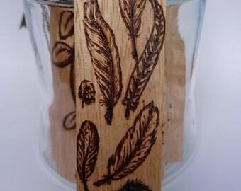 Wood Bookmark, feathers