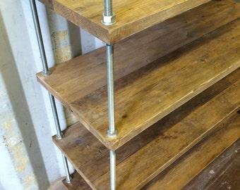 Handmade Bespoke Reclaimed Shelving Unit Wood and Steel