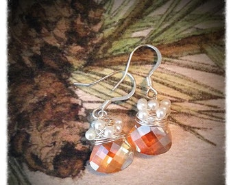 Citrine coloured multi faceted silver wire wrapped with pearls earrings unique gift wedding earrings christmas earrings sparkling elegant