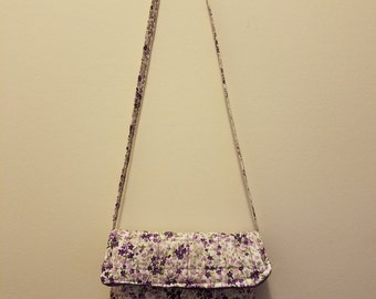Small purple floral print quilted bag--handmade