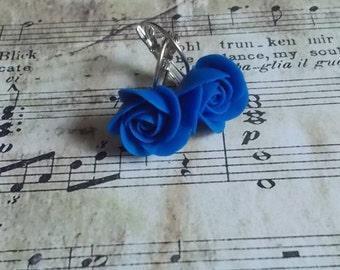 Blue rose earrings, wild flowers, cute earrings, stylish earrings, handmade, gift earrings